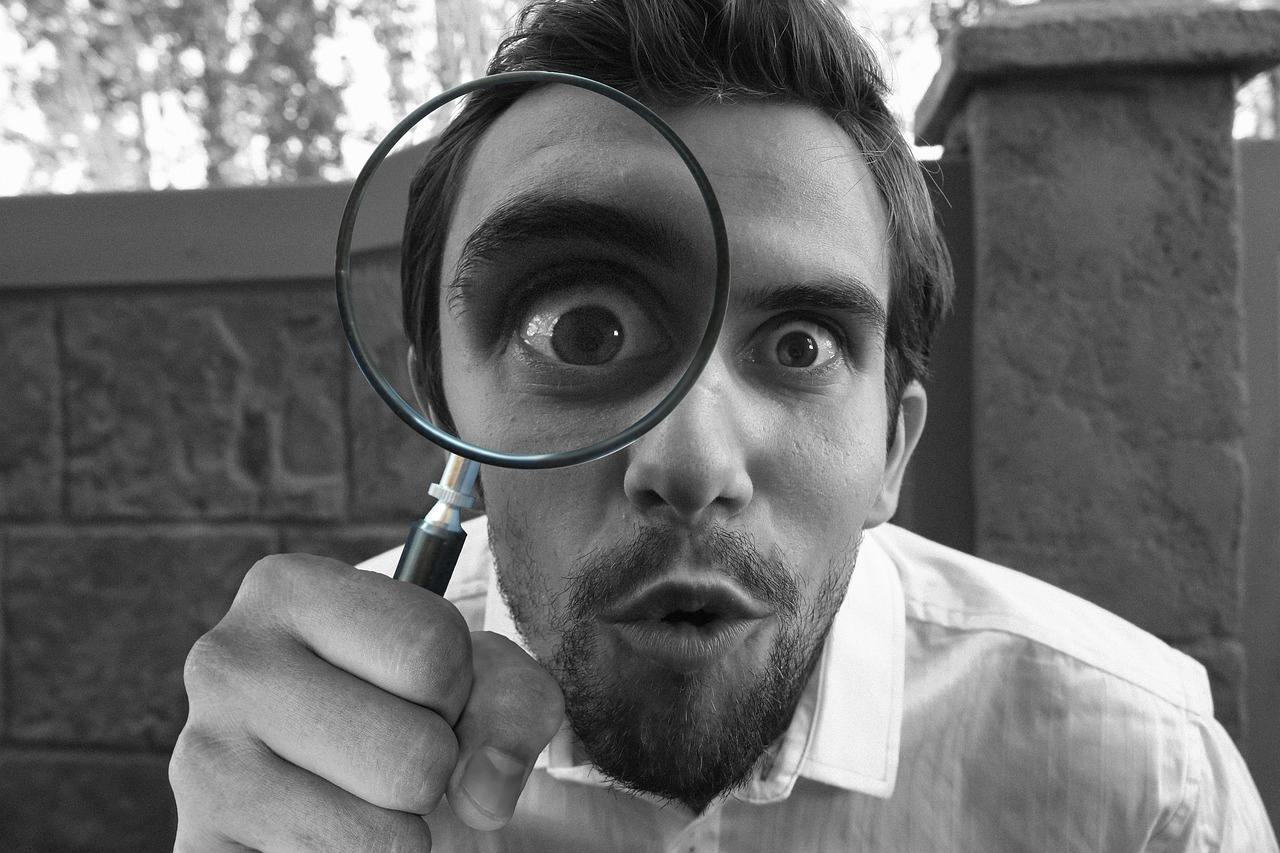 magnifying, glass, detective